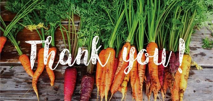Image of Carrots with Thank You on top